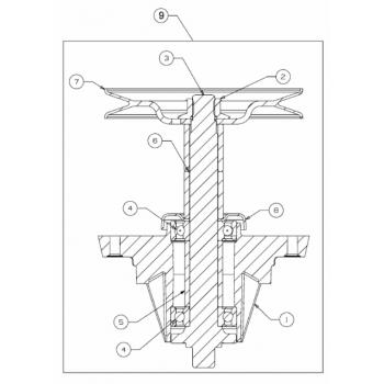 glavčina noža sa remenicom, MTD traktorske kosilice, serije kosišta B/R od 2017 (618-07277)