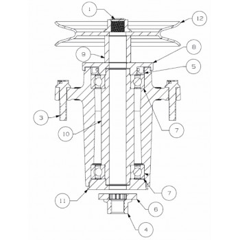 osovina noža, MTD traktorske kosilice, serije kosišta A/F vareno,122/137 cm od 2018 (611-05202)